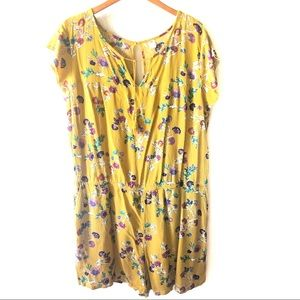Old Navy Mustard and floral short romper size XXL